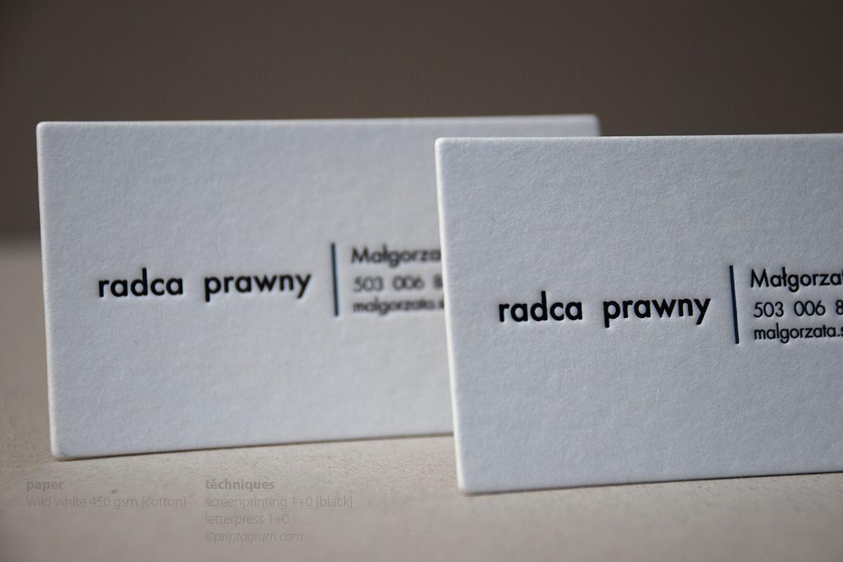 Wizytowki bawełniane białe radcy prawnego tłoczone letterpress