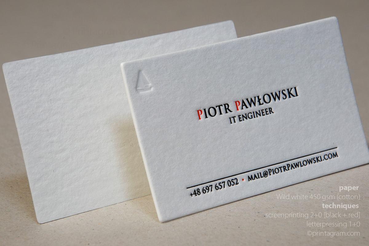 Wizytówki papier Wild 450, letterpress i sitodruk 2+0