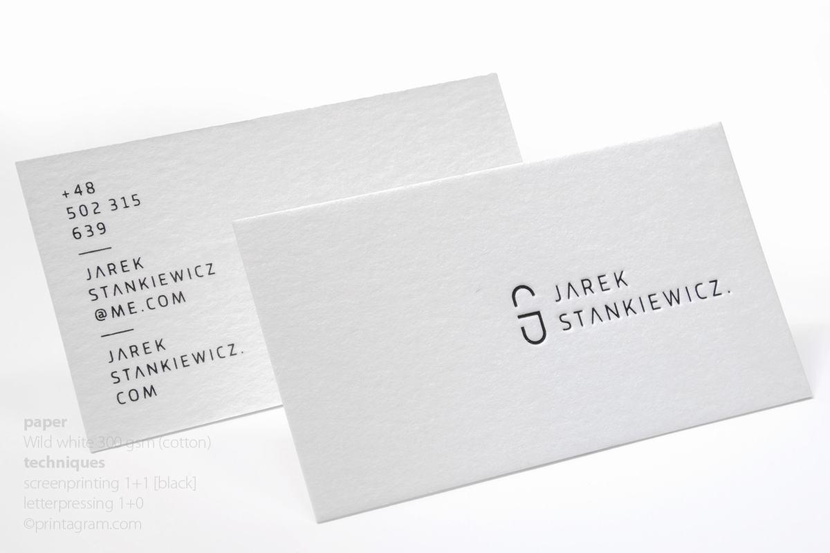 Eleganckie proste wizytówki bawełniane letterpress tłoczenie wklęsłe